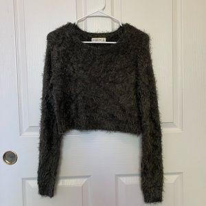 fuzzy green/grey sweater